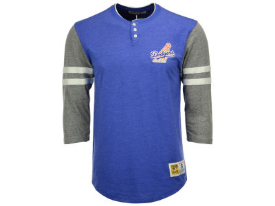 Los Angeles Dodgers Mitchell and Ness MLB Men's Home Stretch Henley T-shirt