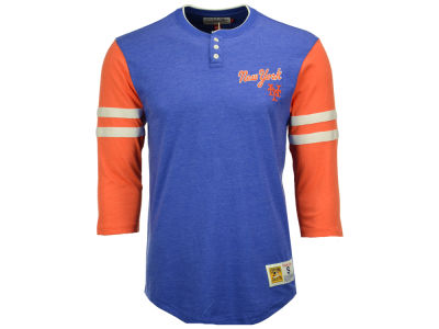 New York Mets Mitchell and Ness MLB Men's Home Stretch Henley T-shirt
