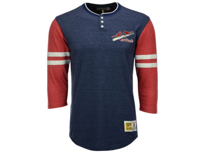 St. Louis Cardinals Mitchell & Ness MLB Men's Home Stretch Henley T-shirt