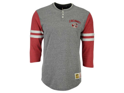 Cincinnati Reds Mitchell and Ness MLB Men's Home Stretch Henley T-shirt