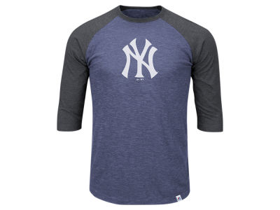 New York Yankees Majestic MLB Men's Grueling Raglan T-Shirt