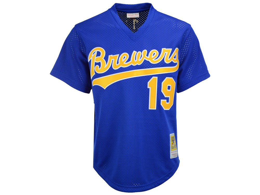 4895d5b1a99 Milwaukee Brewers Robin Yount Mitchell   Ness MLB Men s Authentic Mesh  Batting Practice V-Neck Jersey