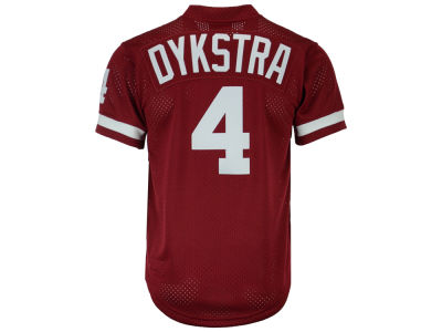 Philadelphia Phillies Lenny Dykstra Mitchell and Ness MLB Men's Authentic Mesh Batting Practice V-Neck Jersey