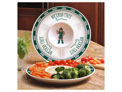 Michigan State Spartans Ceramic Chip & Dip Plate