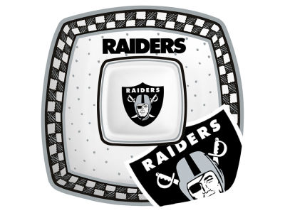 Oakland Raiders Memory Company Gameday Ceramic Chip & Dip Plate