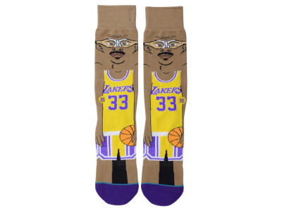 Los Angeles Lakers Kareem Abdul-Jabbar Stance Cartoon Legend Player Socks