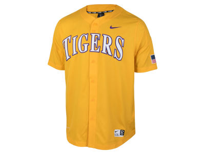 LSU Tigers Nike NCAA Men's Full Button Vapor Elite Baseball Jersey