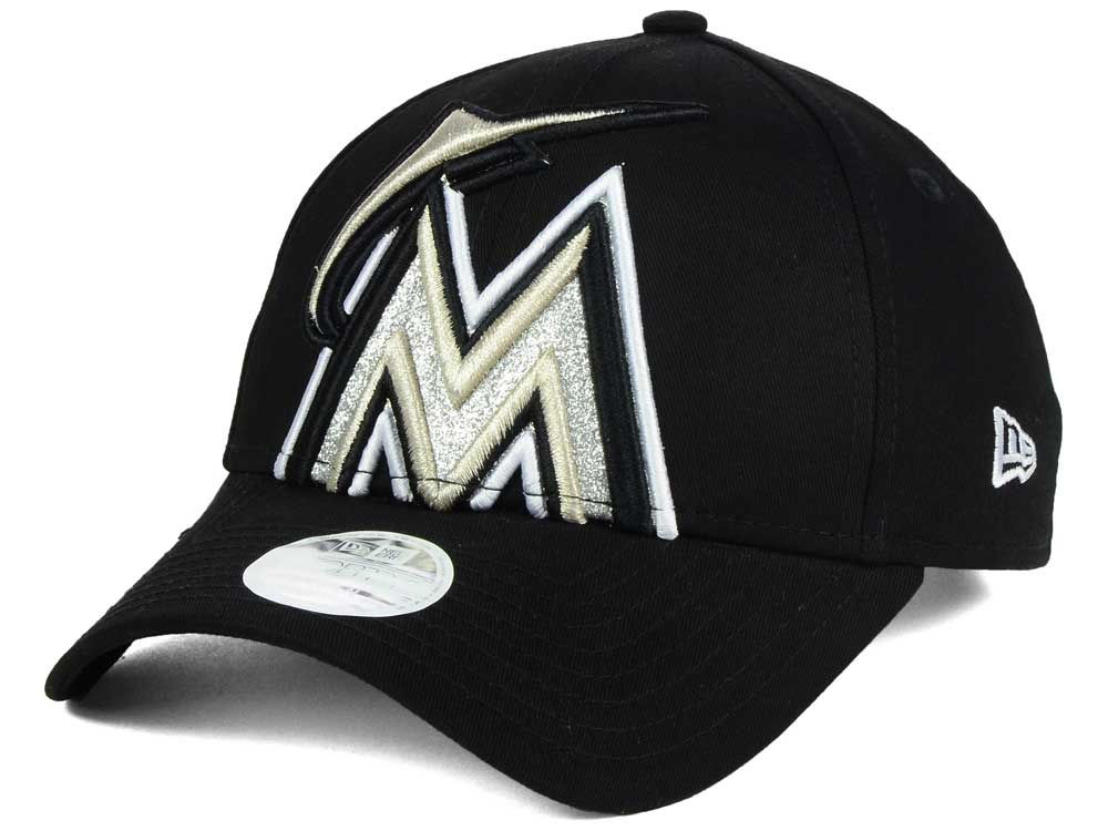Miami Marlins New Era MLB Women s Glitter Glam 9FORTY Strapback Cap ... 3795cabbeb8
