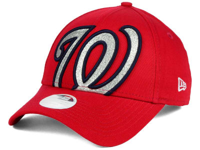 Washington Nationals New Era MLB Women's Glitter Glam 9FORTY Strapback Cap