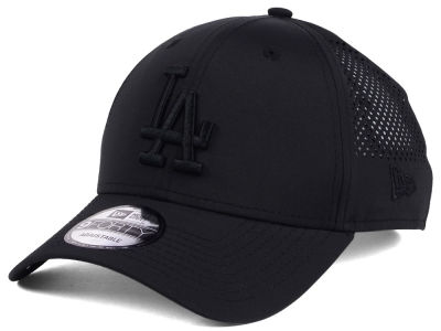 Los Angeles Dodgers MLB Black/Black Perf Tech 9FORTY Adjustable Cap