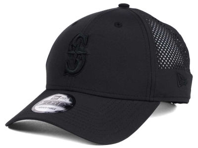 Seattle Mariners MLB Black/Black Perf Tech 9FORTY Adjustable Cap