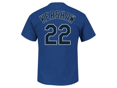 Los Angeles Dodgers Clayton Kershaw MLB Men's Blue Steel Player T-Shirt