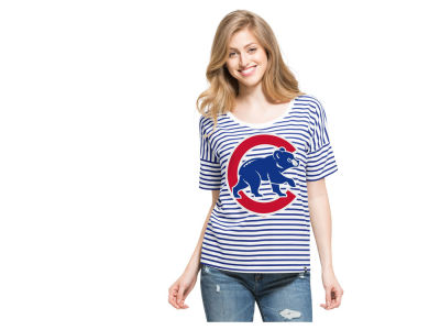 Chicago Cubs '47 MLB Women's Coed Stripe T-Shirt
