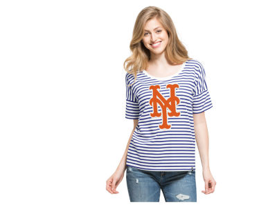 New York Mets '47 MLB Women's Coed Stripe T-Shirt