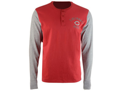 Cincinnati Reds '47 MLB Men's Downfield Henley Long Sleeve T-Shirt
