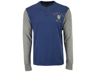 New York Mets '47 MLB Men's Downfield Henley Long Sleeve T-Shirt