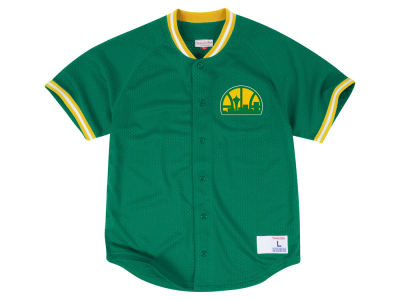 Seattle SuperSonics Mitchell & Ness NBA Men's Seasoned Pro Mesh Button Front Jersey
