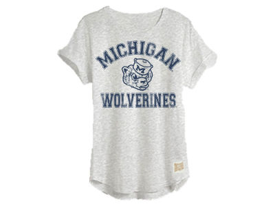 Michigan Wolverines Retro Brand NCAA Women's Rolled Sleeve T-Shirt