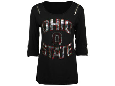 Ohio State Buckeyes Gameday Couture NCAA Women's Embellished Zipper Elbow Sleeve Top