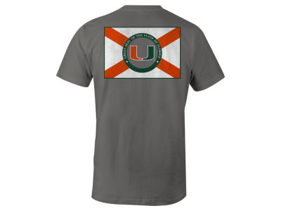 Miami Hurricanes NCAA Men's Mascot State Flag T-Shirt