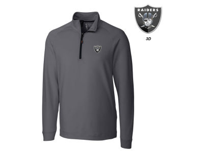 Oakland Raiders Cutter & Buck NFL Men's Jackson Overknit 1/4 Zip Pullover