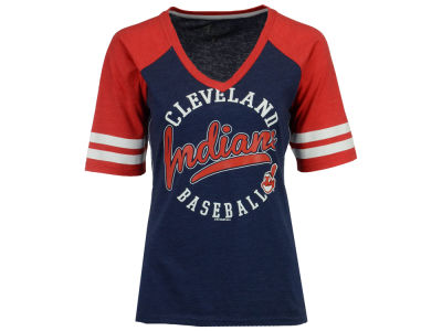 Cleveland Indians G-III Sports MLB Women's Fastball Sleeve Stripe T-Shirt