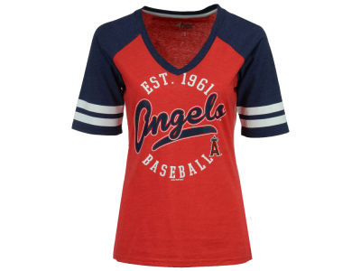 Los Angeles Angels G-III Sports MLB Women's Fastball Sleeve Stripe T-Shirt