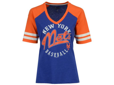 New York Mets G-III Sports MLB Women's Fastball Sleeve Stripe T-Shirt