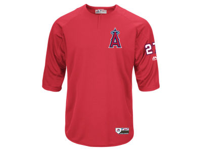 Los Angeles Angels Mike Trout Majestic MLB Men's On-Field BP Trainer Jersey