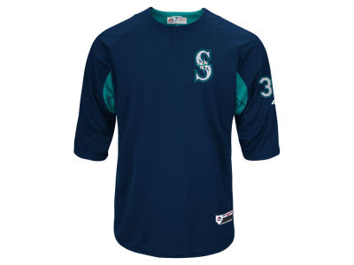 Seattle Mariners Felix Hernandez Majestic MLB Men's On-Field BP Trainer Jersey