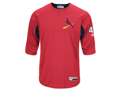 St. Louis Cardinals Yadier Molina Majestic MLB Men's On-Field BP Trainer Jersey