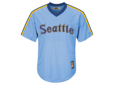 Seattle Mariners Majestic MLB Men's Cooperstown Blank Replica Cool Base Jersey