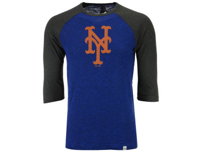 New York Mets Majestic MLB Men's Grueling Raglan T-Shirt