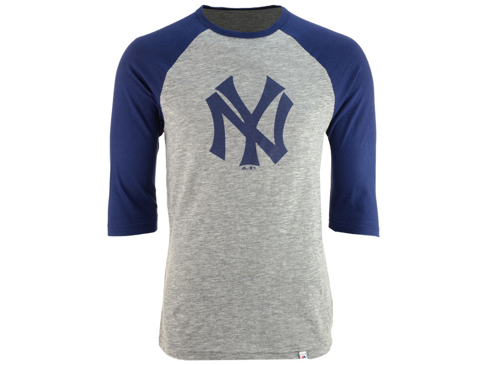 New York Yankees Majestic MLB Men s Coop Grueling Raglan T-shirt ... eeeb58d118d