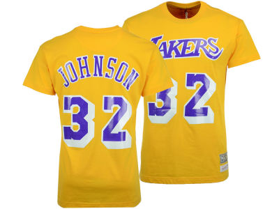 Los Angeles Lakers Magic Johnson Mitchell and Ness NBA Men's Hardwood Classic Player T-Shirt