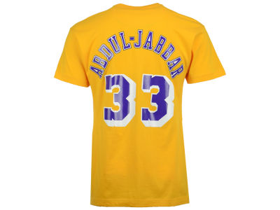 Los Angeles Lakers Kareem Abdul-Jabbar Mitchell and Ness NBA Men's Hardwood Classic Player T-Shirt