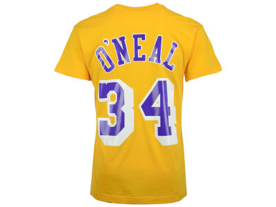 Los Angeles Lakers Shaquille O'Neal Mitchell and Ness NBA Men's Hardwood Classic Player T-Shirt