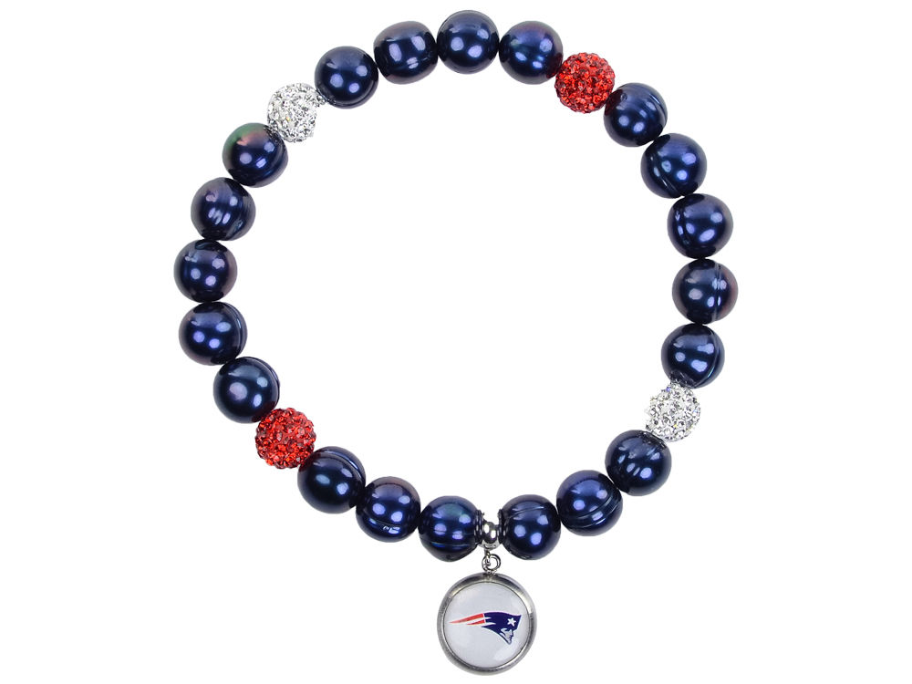New England Patriots Honora Bracelet With Sparkle Beads And Charm