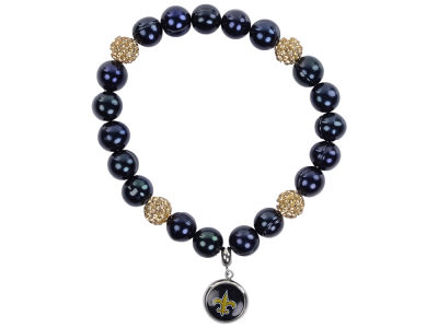 New Orleans Saints Honora Bracelet with Sparkle Beads and Charm