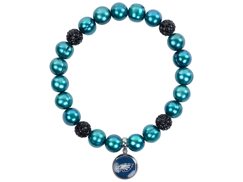 Philadelphia Eagles Honora Bracelet With Sparkle Beads And Charm