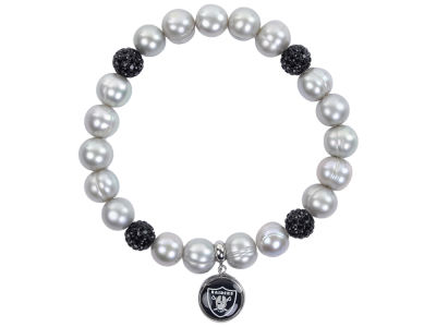 Oakland Raiders Honora Bracelet with Sparkle Beads and Charm