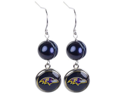 Baltimore Ravens Honora Earrings-Pearl with Dangle Charm