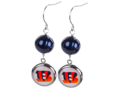 Cincinnati Bengals Honora Honora Earrings-Pearl with Dangle Charm