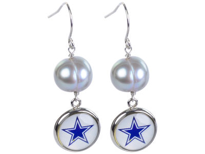 Dallas Cowboys Earrings-Pearl with Dangle Charm