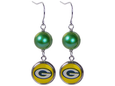 Green Bay Packers Honora Earrings-Pearl with Dangle Charm