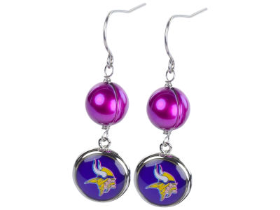 Minnesota Vikings Earrings-Pearl with Dangle Charm