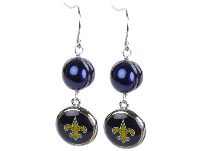 New Orleans Saints Earrings-Pearl with Dangle Charm