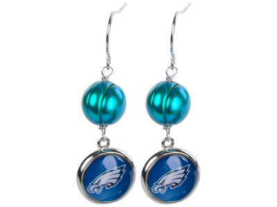 Philadelphia Eagles Honora Earrings-Pearl with Dangle Charm