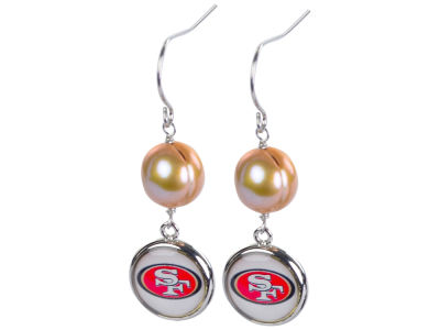 San Francisco 49ers Honora Earrings-Pearl with Dangle Charm