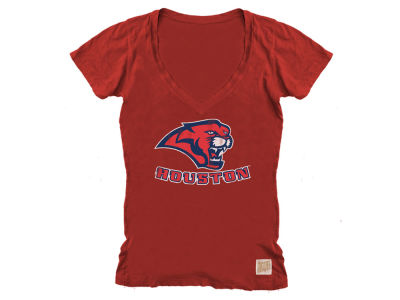 Houston Cougars Retro Brand NCAA Women's Vintage V-Neck T-Shirt